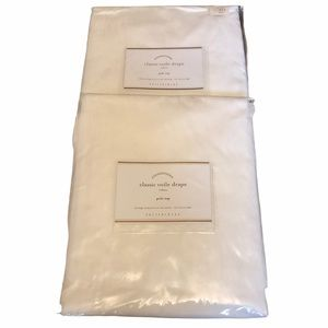2 Pottery Barn Voile Curtain Panels White 50x108